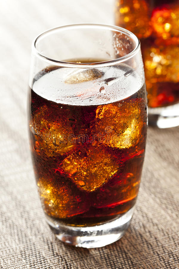 Refreshing Brown Soda with Ice royalty free stock images