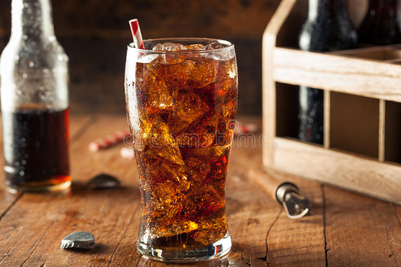 Refreshing Bubbly Soda Pop. With Ice Cubes stock photography