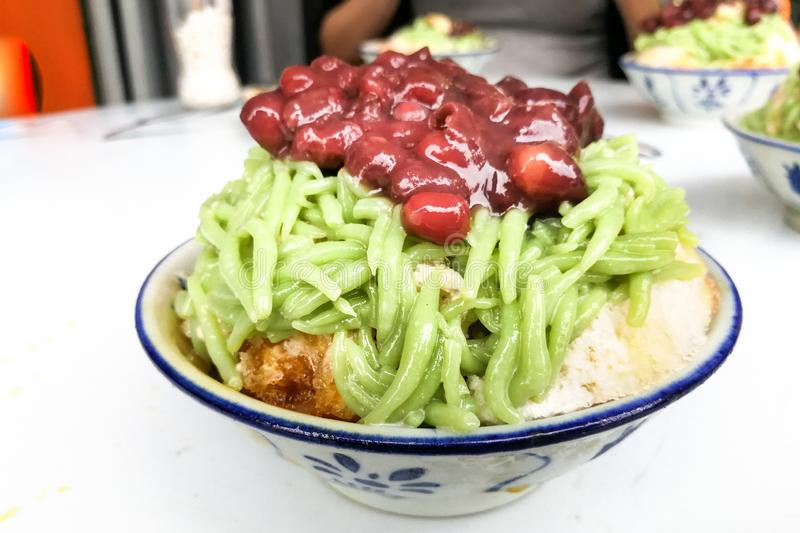 Refreshing cendol, red beans, santan on shaved ice, Malaysia delicacy. Refreshing cendol, red beans, santan on shaved ice, popular food in Malaysia, asia, asian royalty free stock photo