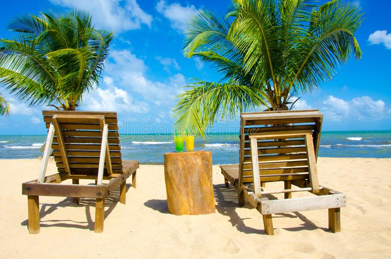 Refreshing Cocktail at beach in Belize - recreation in tropical destination for vacation - paradise coast stock image