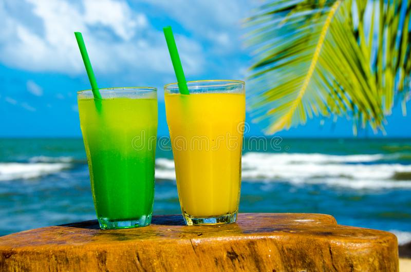 Refreshing Cocktail at beach in Belize - recreation in tropical destination for vacation - paradise coast royalty free stock image