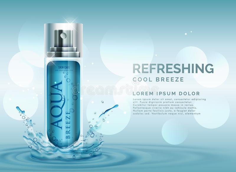 Refreshing cosmetic spray advertisement concept with water splash royalty free illustration