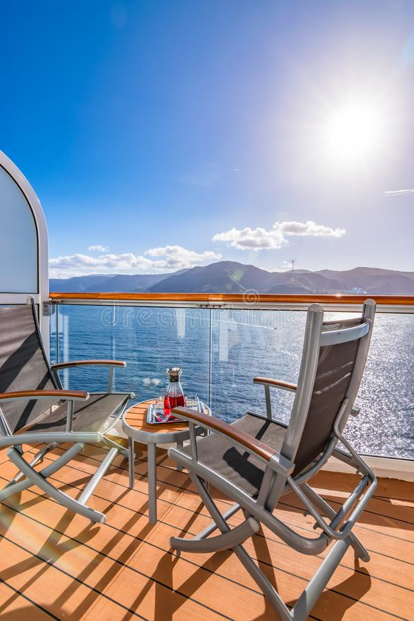 Refreshing drink on a balcony of a cruise ship. stock image