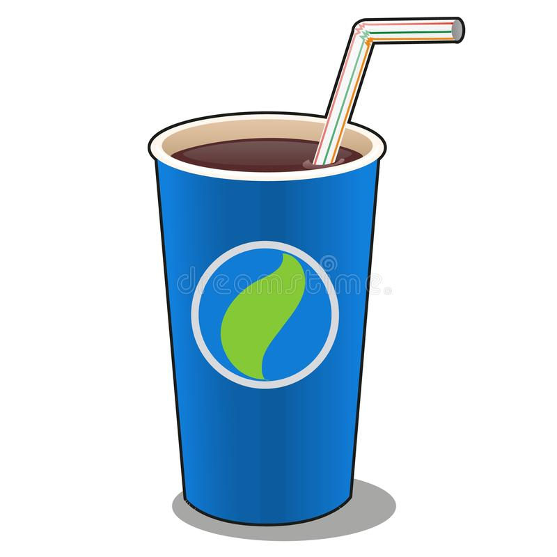 Refreshing drink in a blue paper cup with plastic straw isolated on white background. Vector cartoon close-up. Illustration royalty free illustration