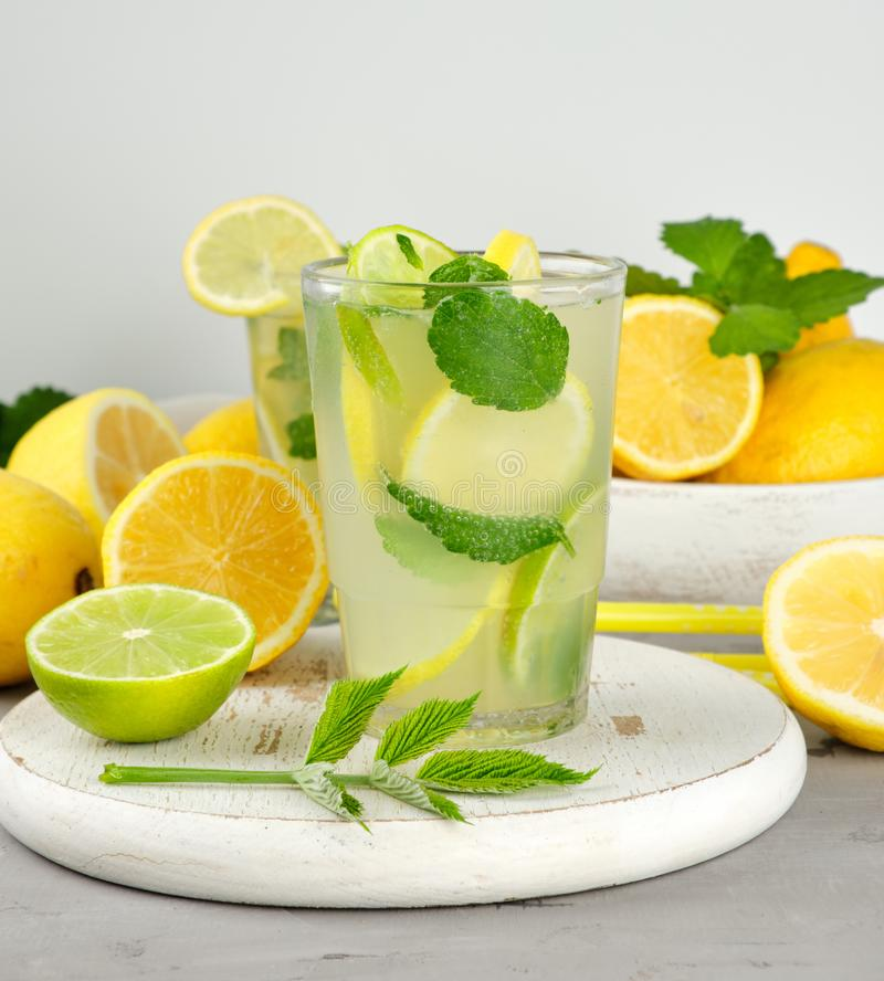 Refreshing drink lemonade with lemons, mint leaves, lime in a glass. Next to the ingredients for making a cocktail stock photography