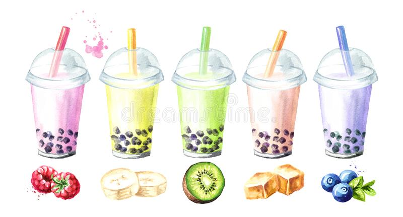 Refreshing fruit milky bubble boba tea flavors with tapioca pearls. Food concept. Watercolor hand drawn illustration, isolated on royalty free illustration