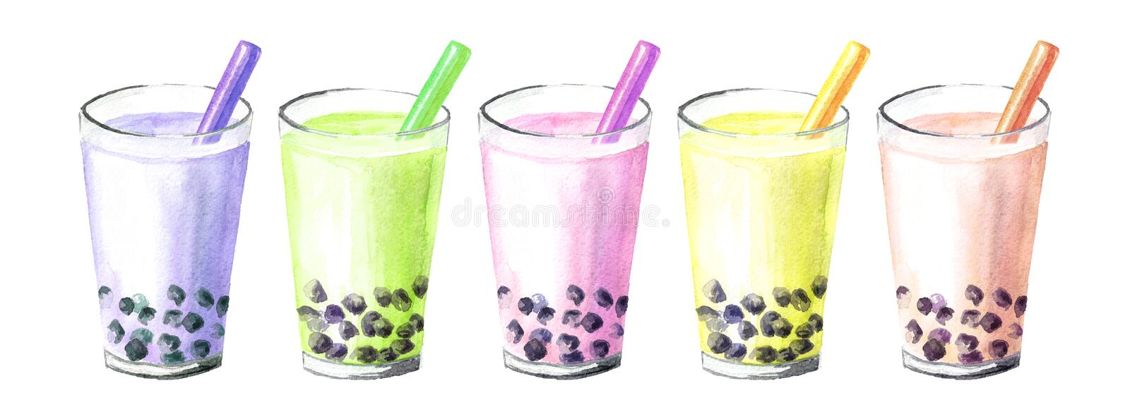 Refreshing fruit milky bubble boba tea with tapioca pearls. Food concept. Watercolor hand drawn illustration, isolated on white vector illustration