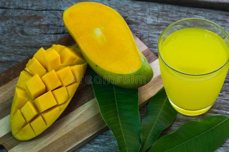 Refreshing glass of tropical Alphonso mango juice,top view.  royalty free stock photography