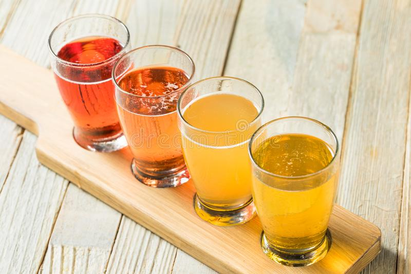Refreshing Hard Cider Flight. Of Beers to Drink stock image