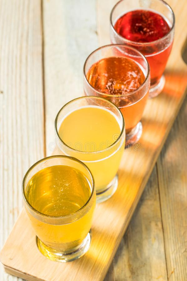 Refreshing Hard Cider Flight. Of Beers to Drink royalty free stock image