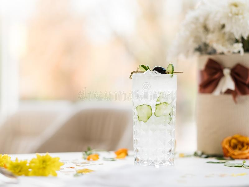 Refreshing healthy cucumber cocktail beverage stock image