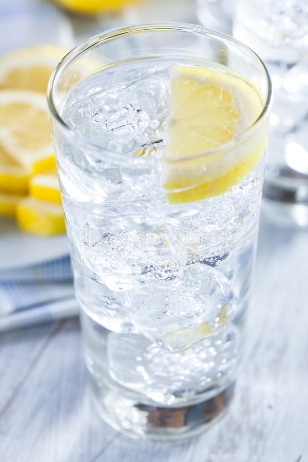 Refreshing Ice Cold Water With Lemon Stock Photo - Image ...