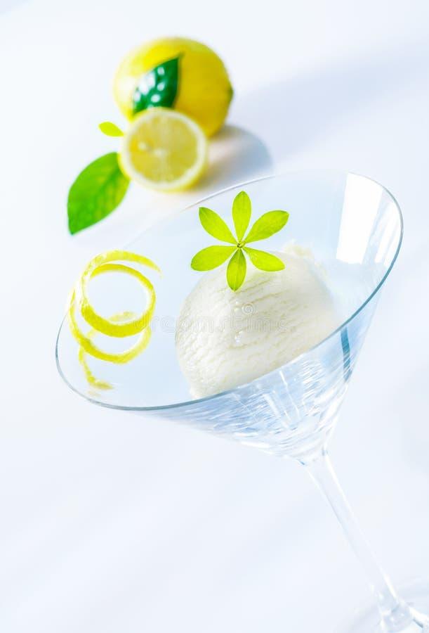Refreshing lemon sorbet cocktail stock images