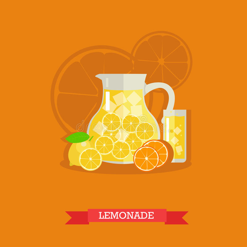 Refreshing lemonade with lemons, oranges and ice, vector. Pitcher and glass of lemonade with slices of lemons and ice cubes. Refreshing lemonade, fresh lemons stock illustration