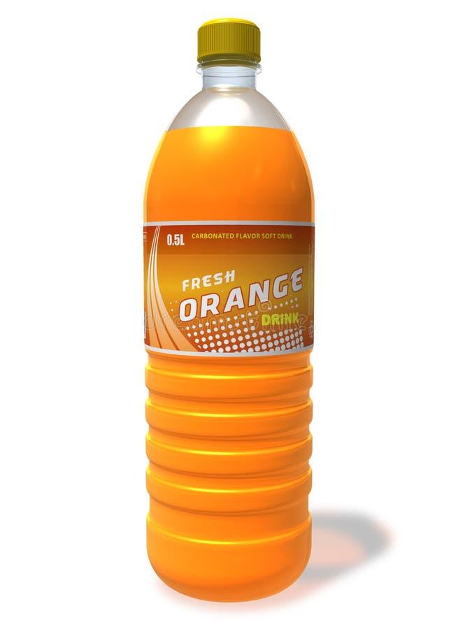 Refreshing orange drink in plastic bottle vector illustration