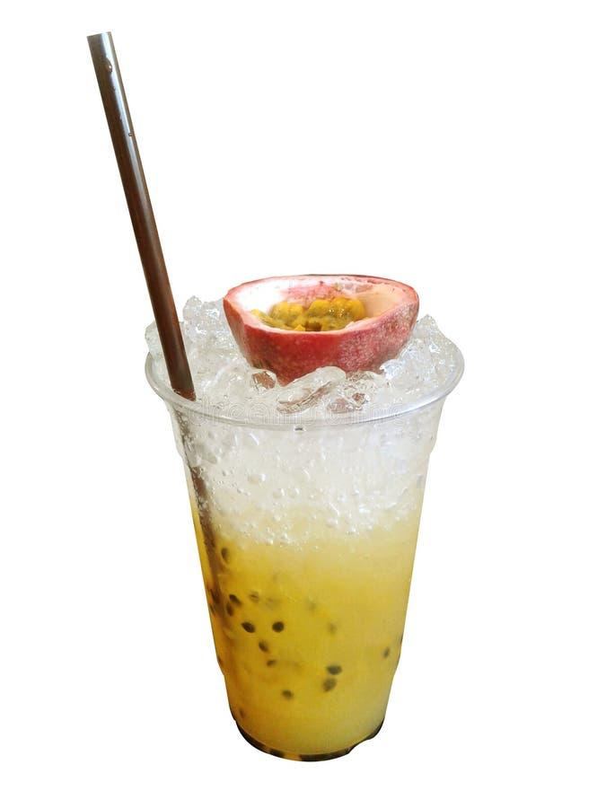 Refreshing passion fruit juice on white background stock image