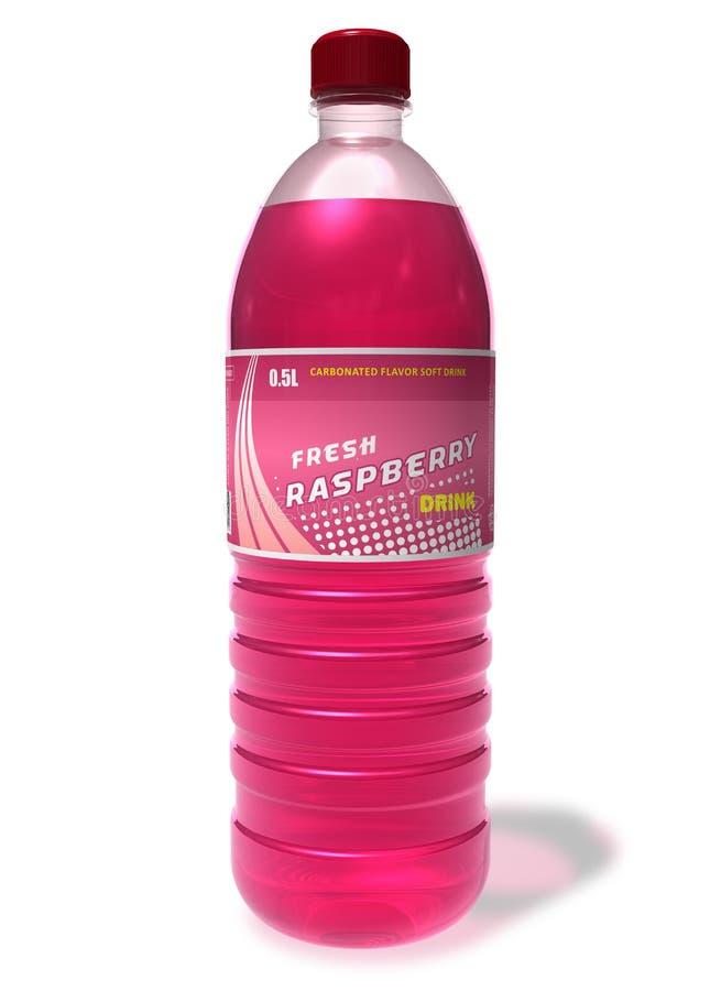 Refreshing raspberry drink in plastic bottle vector illustration