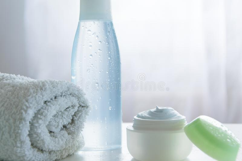 Refreshing skin care products. Health/body care cosmetics objects royalty free stock photos