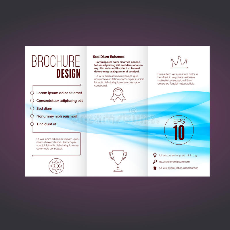 Refreshing speed blue swoosh wave brochure. Abstract modern print design layout. Vector illustration royalty free illustration
