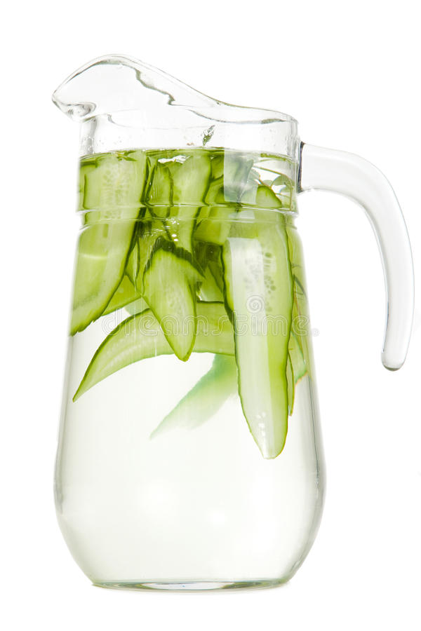 Download Refreshing Water With Cucumber On Isolated White Stock Photo - Image: 25121198