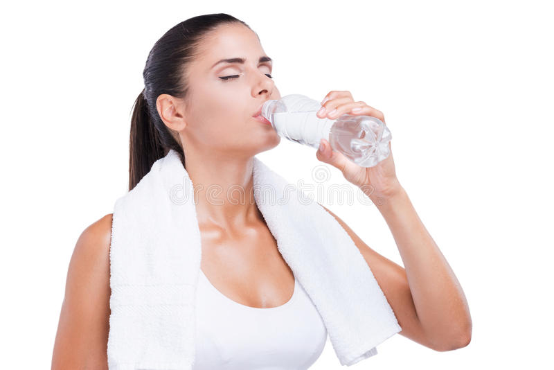 Refreshing after work out. royalty free stock photo