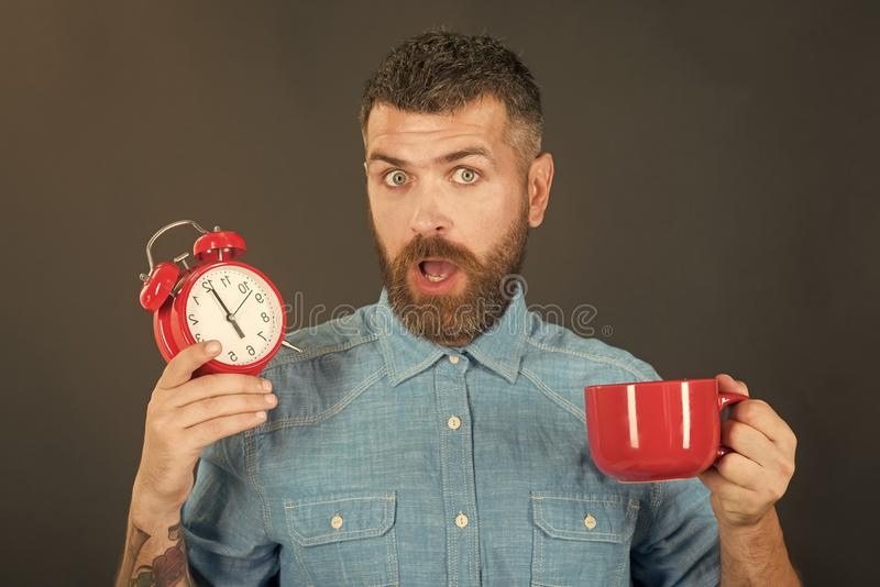 Refreshment break and energy. hipster with milk cup, time. Man drink morning coffee or tea with alarm clock. guy with mulled wine, clock on black background royalty free stock photo