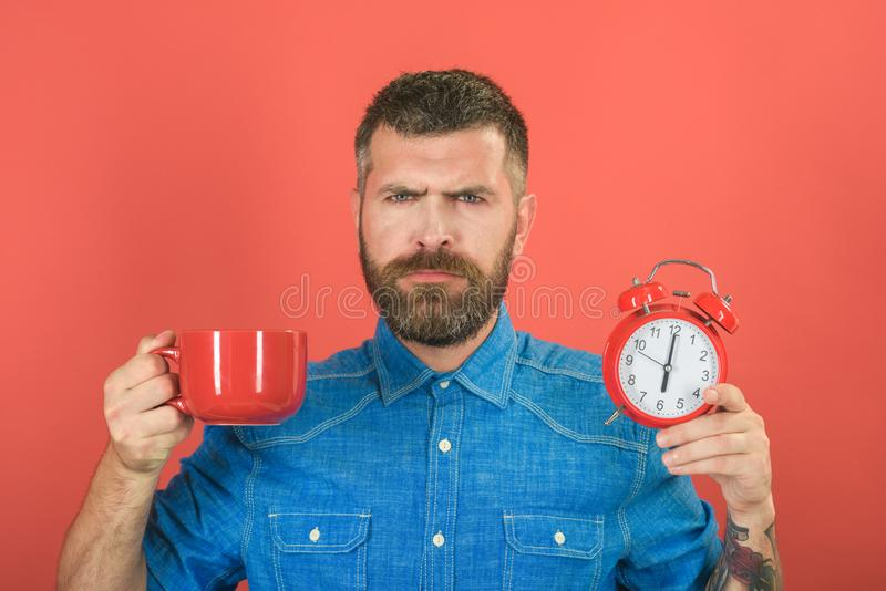 Refreshment break and energy. Guy with mulled wine, clock on red background. Red mug with alarm, perfect morning. Man drink morning coffee or tea with alarm stock photography