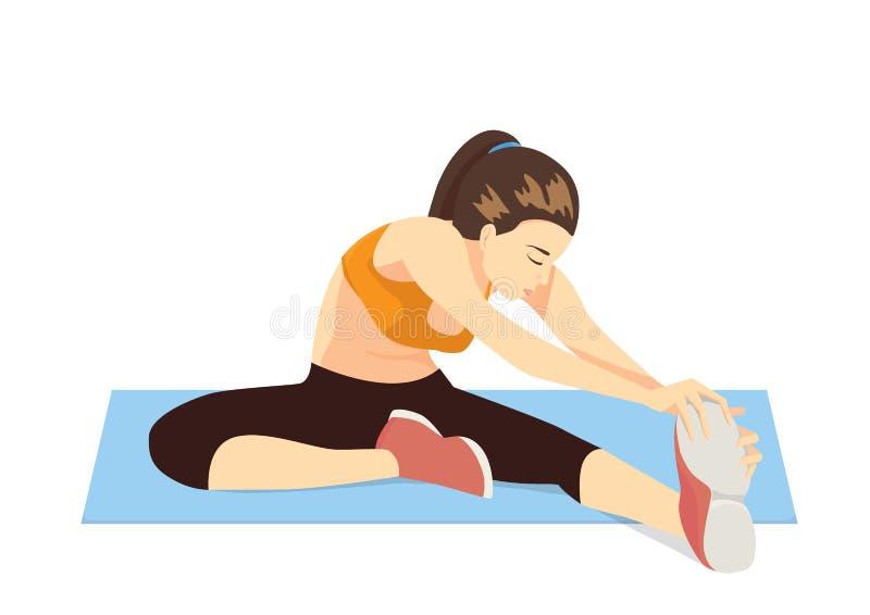 Refresqúese abajo estira la pierna después de ejercicio stock de ilustración