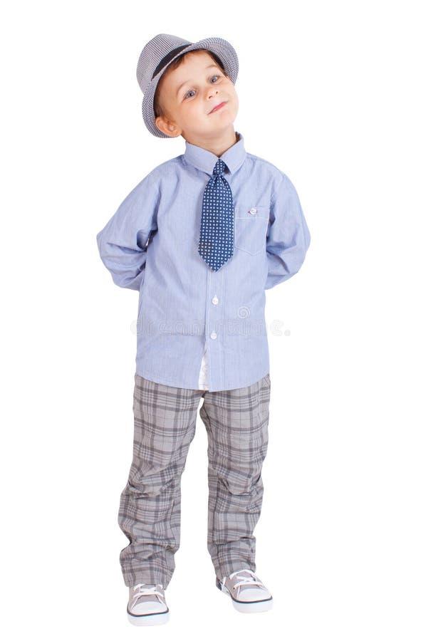 Refresque al niño pequeño bastante elegante aislado imágenes de archivo libres de regalías