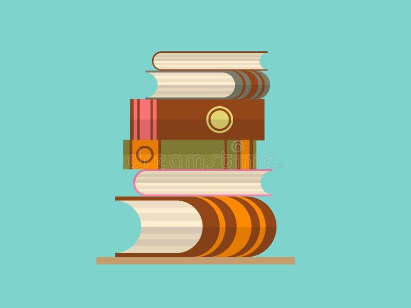 Refresque el ejemplo plano del diseño en la lectura con la pila abstracta de libros libre illustration