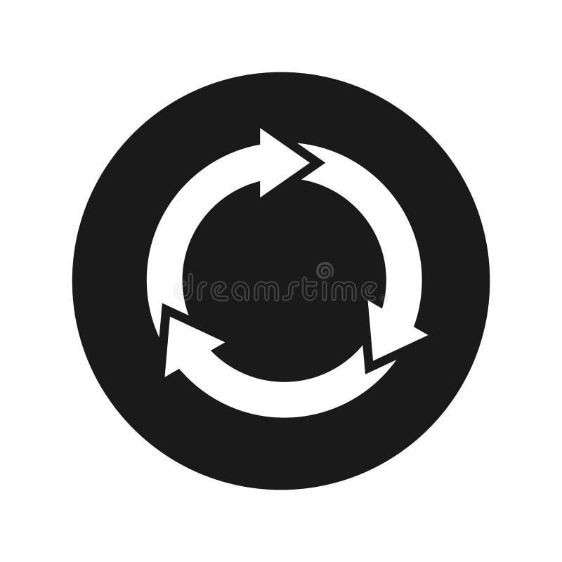 Refresque a ilustração redonda preta lisa do vetor do botão do ícone da atualização ilustração do vetor