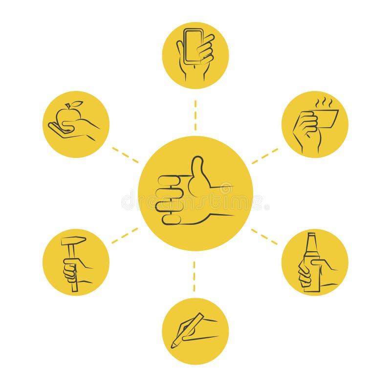 Refresque la línea fina concepto - dé los iconos con las herramientas y la comida ilustración del vector