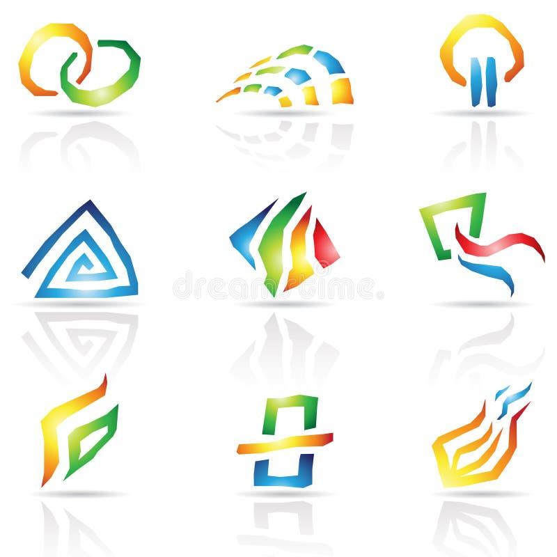 Refresque las líneas iconos abstractos stock de ilustración
