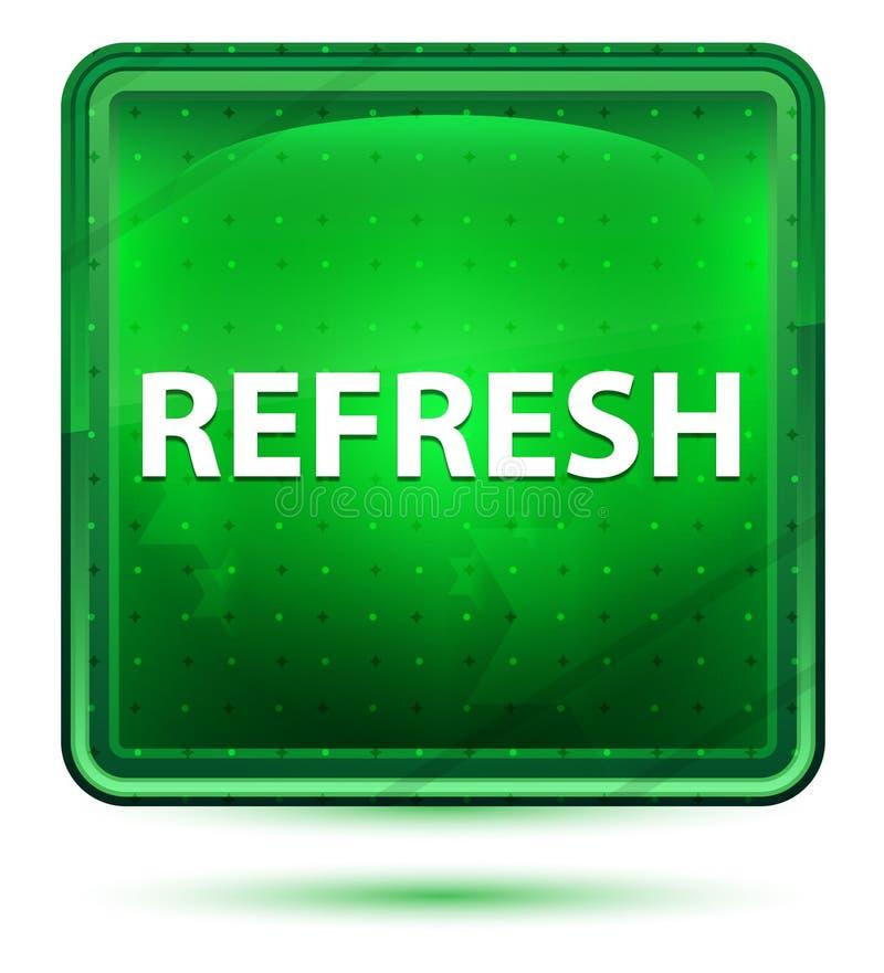 Refresque a luz de néon - botão quadrado verde ilustração do vetor