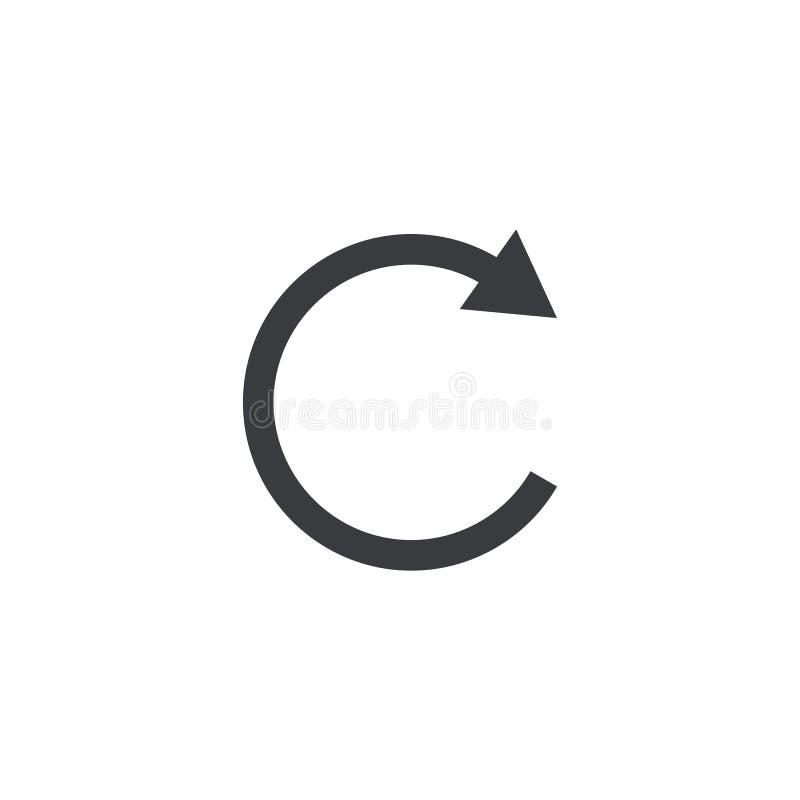 Refresque o ícone Botão da relação do reinício da forma do vetor Elemento para o app ou o Web site móvel do projeto ilustração do vetor