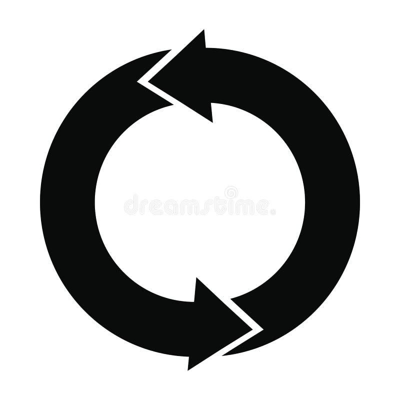 Refresque o ícone simples preto das setas ilustração stock