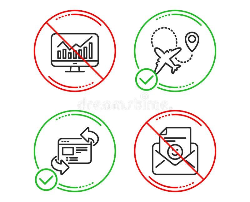 Refresque o grupo do Web site, dos ícones das estatísticas e do avião Sinal do sorriso Internet da atualização, relatório finance ilustração royalty free