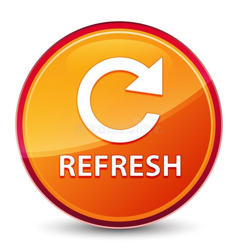 Refresque (para girar o ícone da seta) o botão redondo alaranjado vítreo especial ilustração stock
