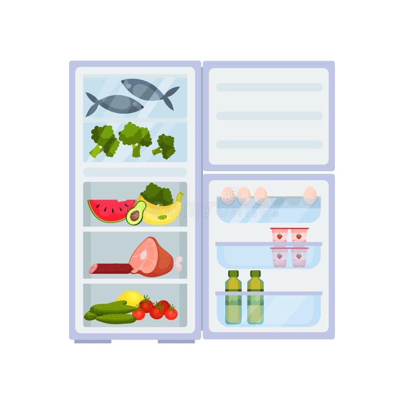 Refrigerador aberto completamente dos produtos Carne e peixes, frutas e legumes frescas Armazenamento do alimento Projeto liso do ilustração royalty free