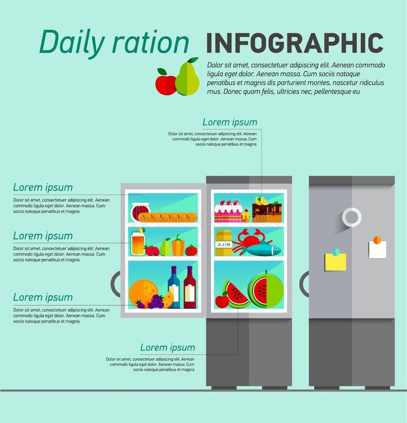 Refrigerador aberto do vetor completamente de fresco saudável ilustração do vetor