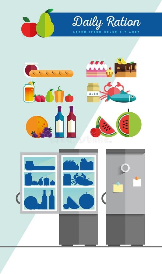 Refrigerador aberto do vetor completamente de fresco saudável ilustração royalty free