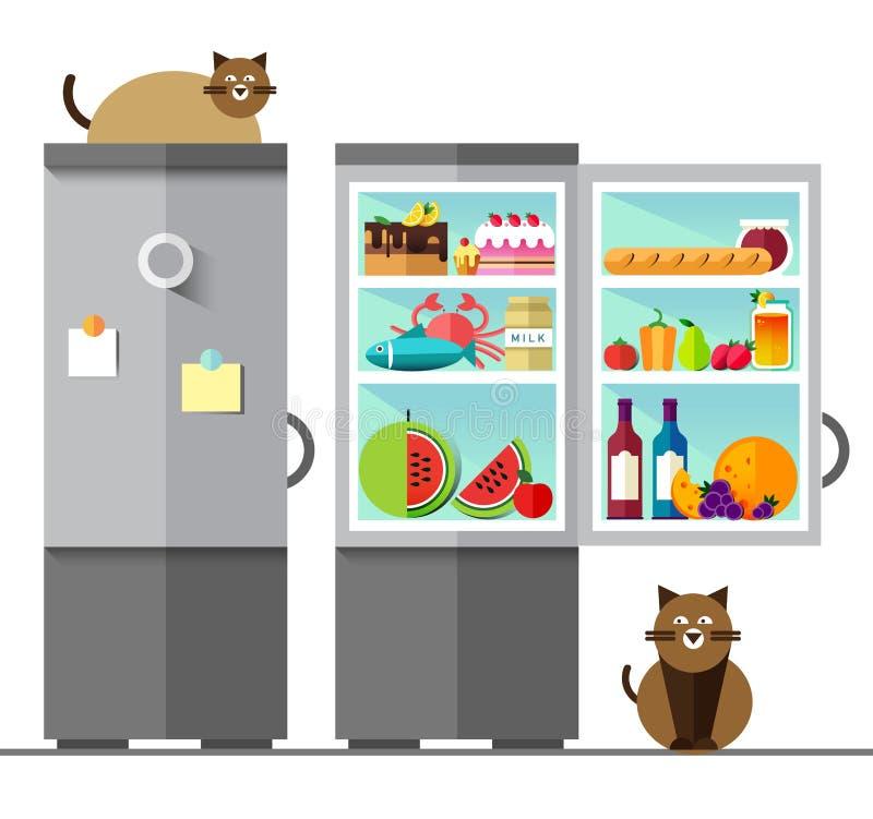 Refrigerador aberto do vetor completamente de saudável ilustração royalty free