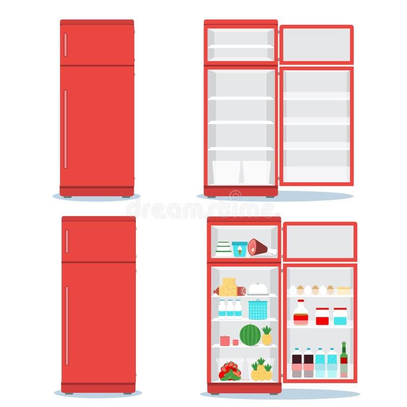 Refrigerador abierto con el sistema de la comida libre illustration