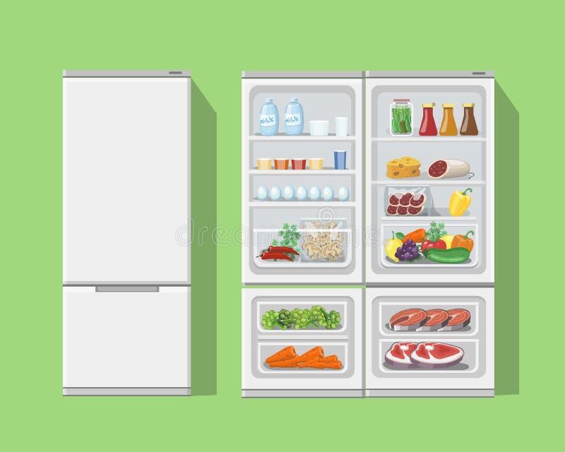 Refrigerador abierto con la comida Refrigerador abierto y cerrado, comidas fijadas libre illustration