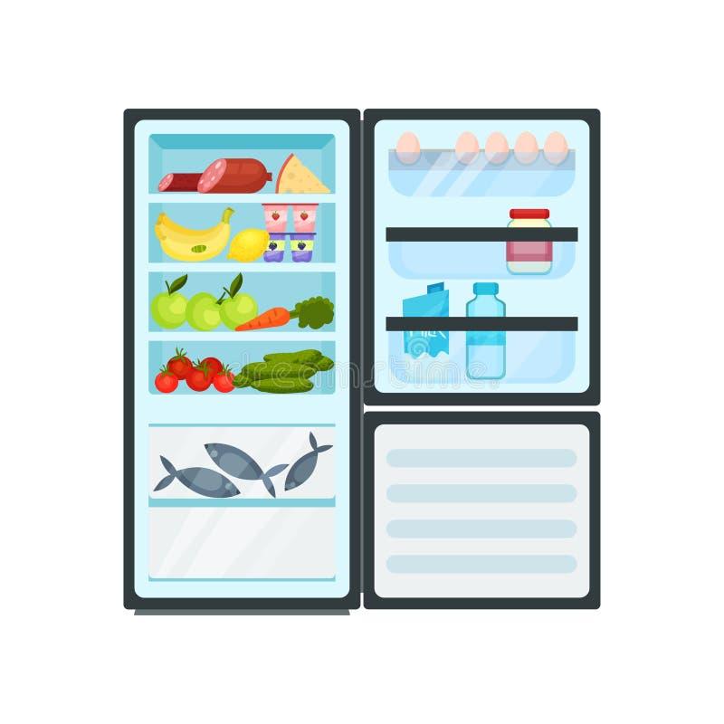 Refrigerador abierto de la cocina por completo de productos Pescados en el congelador, la lechería y la carne, frutas y verduras  ilustración del vector