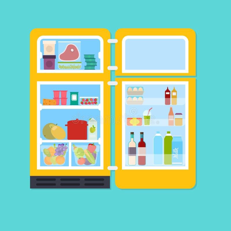 Refrigerador abierto del amarillo del vintage por completo de frutas frescas y del vegeta ilustración del vector