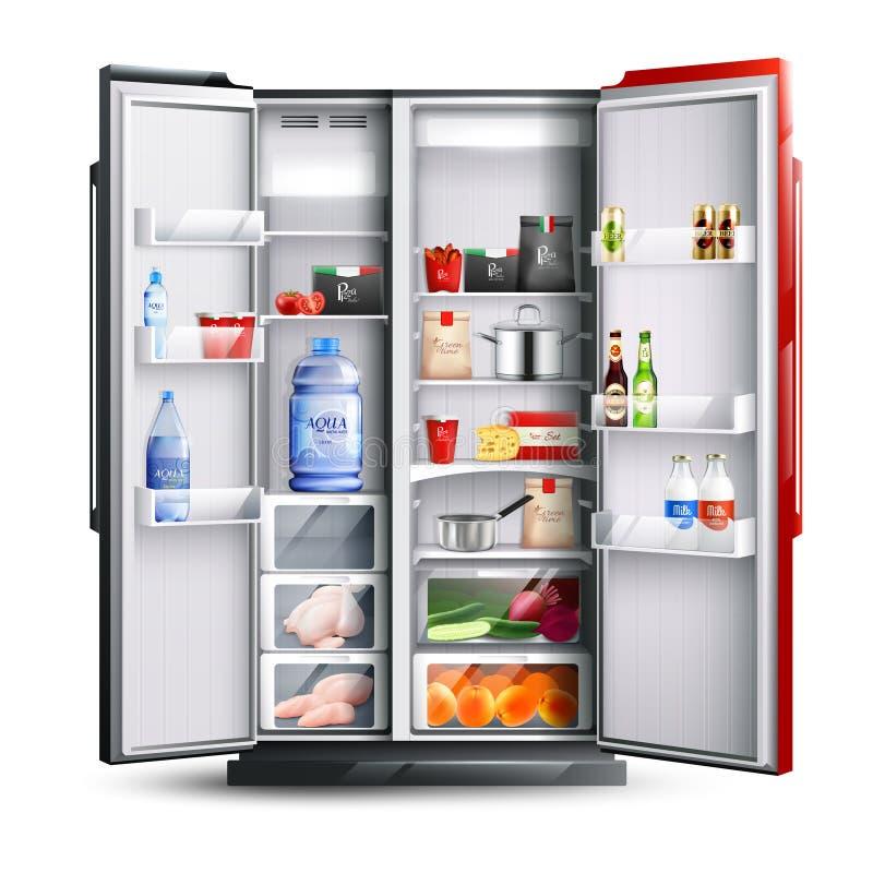 Refrigerador abierto del rojo con los productos stock de ilustración