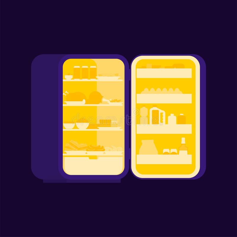 Refrigerador abierto en la noche aislado Silueta de la comida Refrigerador para libre illustration
