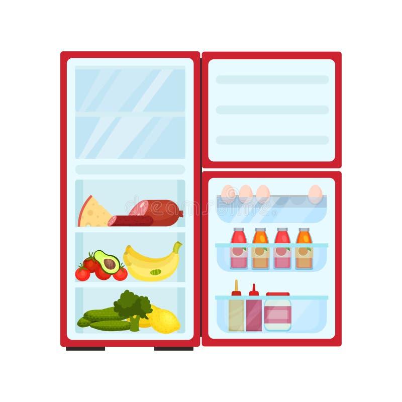 Refrigerador abierto llenado de los productos Frutas y verduras, queso y salchichas frescos Diseño plano del vector stock de ilustración