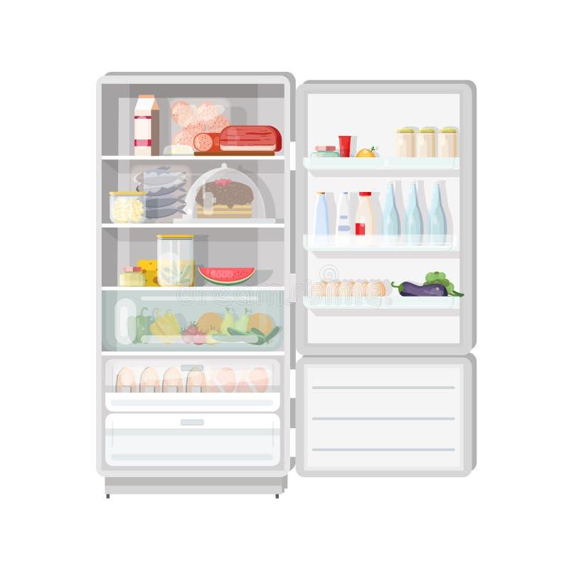 Refrigerador abierto moderno por completo de la diversa comida - frutas y verduras, carne y productos lácteos, postres, comidas d stock de ilustración